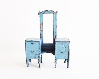 Vintage Tootsie Toy Dollhouse Furniture Piece - Blue Vanity Chest of Drawers