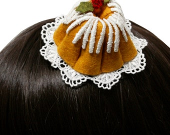 Sweet Christmas Bundt Cake and Holly Berries Barrette - Made to Order