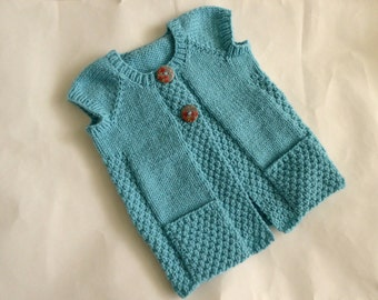 Hand knit aqua sleeveless toddler girl cardigan, size 18 months to 2.5 years, sweater for layering