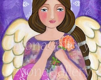 Jophiel the Archangel of creativity , beauty and art- Giclee print, Mixed Media, Catholik Painting Acrylik Folk Art, Wall Decore by Evona