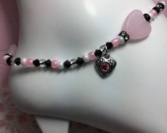 Free Shipping - Love - Girls Heart Ankle Bracelets/Zen Ankle Bracelets/Mala Crystal Anklets/Swarovski Crystal Anklets/Girlfriend Anklets