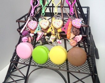 Macaron purse clip, macaron keychain, paris bag charms, Eiffel Tower purse clip, pastry purse clip, french gift, bakers gift idea