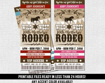 WESTERN RODEO TICKET Invitation Birthday Party - Any Accent Color/Age - Cowboy or Cowgirl (print your own) Printable Files - Wild West