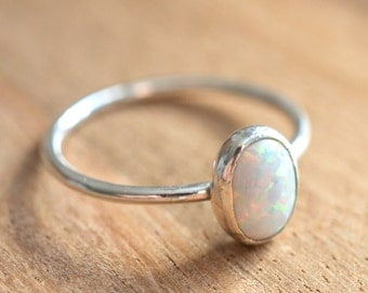 Sterling Silver Opal Ring // Simulated Opal Stacking Ring // October Birthstone Ring // Opal Cocktail Ring // Silver Opal Stacking Ring