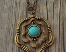 Turquoise Necklace, Turquoise Flower Necklace, Turquoise Pendant,  Flower Necklace, Antique Bronze Necklace, Hexagon Necklace, Pendant