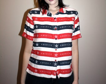 90s Striped America Shirt