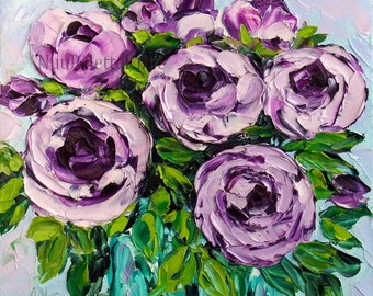 Rose Oil Painting Purple Rose Art Flower Floral Still Life Cottage Chic Textured Palette Knife Impasto For Her Small Canvas 8x8