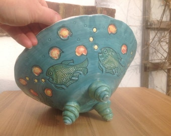 Large Pottery Fruit Bowl Unique Fish Detail Decor Ocean theme Pottery Wedding Gift Idea - Ready to Ship - MADE IN UK