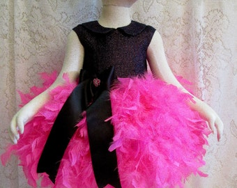 18 mo. Black & Hot Pink Feather Dress with Matching Headband, Pageant Dress, Flower Girl Dress, Birthday Dress, Ready to Ship!
