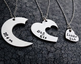 Mother's Day Gift 3 Piece Necklace Set Mother Daughter Jewelry Hand Stamped Necklace Big Sis Little Sis Family Jewelry