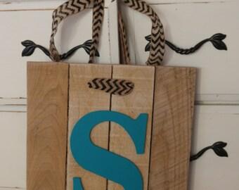 Rustic Monogram Reclaimed Wood Door Sign - Ready to ship!