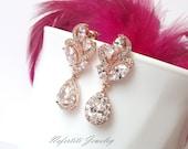 rose gold wedding earrings rose gold bridal earrings crystal teardrop wedding earings rose gold bridesmaid earrings cubic zirconia earrings