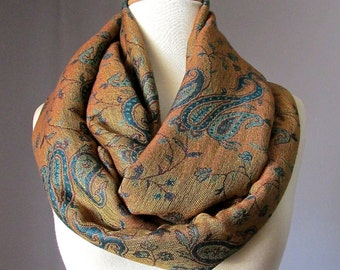 Infinity Scarf , Green / Teal paisley  scarf, pashmina , women accessories, gift idea for her, circled scarf