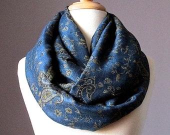 Navy infinity scarf, Navy scarf, pashmina, paisley