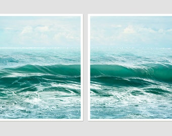 Sea photography wall art set of 2 prints, Ocean prints, large wall art, Set of two Sea landscape, 11x14 prints, 18x24, 20x24, light blue art