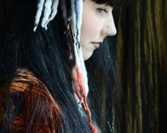 Folletti MINI ELFLOCKS Clip-in Dreads Dreadlocks in White/Blue/Burnt Orange Cosplay, LARP, Tribal Dance, Festivals, Alt Fashion, Performance