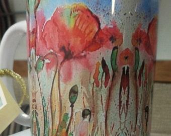 Fine Bone China Bunnies and Poppies Morena Artina Design Mug Wildlife Nature
