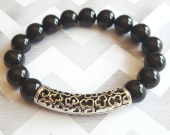 10mm Black Onyx Beaded Bracelet with Silver Pewter Accent