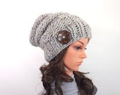 ON SALE Chunky Extra Slouchy Buttoned Hat Beanie Toque // The Alta // in Grey Marble
