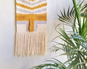 Woven Wall Hanging - Weaved Wall Fiber Art - Wall Tapestry on Natural Fibers - Driftwood - Home Interior Decor Yellow Gray Ivory Retro Decor
