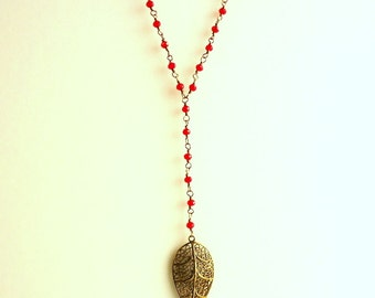 Siam Red Y long Necklace , Leaf necklace, Crystal necklace, wire wrapped necklace, Bright Red necklace, Blood red necklace, vintage necklace