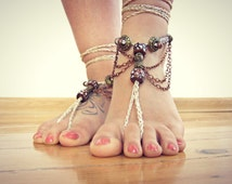 Vintage brass copper BAREFOOT sandles, gold beaded barefoot sandals, beach BOHO bohemian foot jewelry, foot thongs, bottomless shoes