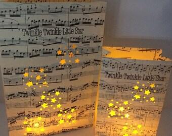 Twinkle Twinkle Little Star, Luminary Set, Night Lights, Star Centerpiece, Music Art, Stars, Sheet Music, Music Notes, Luminary Set