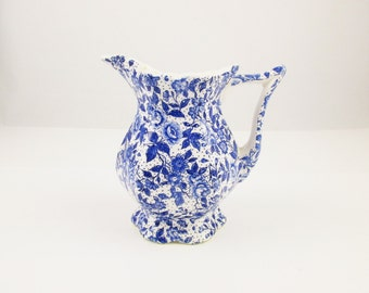 """Blue Transferware Pitcher - Small Cream Pitcher From Enesco  - White Interior - Blue and White Transferware - 5"""" Pitcher - Pointed Handle"""