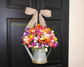 spring wreath spring wreaths multicolor front door wreaths decor, yellow tulips summer wreaths watering can