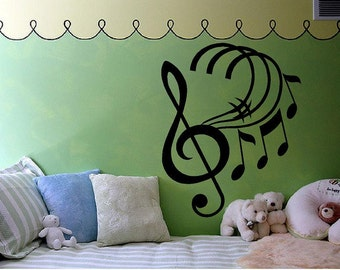 """Music Notes # with Treble Clef  Vinyl wall decal-20""""H x 16""""W Musical vinyl wall decal"""