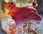 Santa Claus Coke Ad Sprite Boy Coca Cola Refrigerator 1949 Original Christmas Holiday Decor