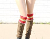 knitted leg warmers, brown legwarmers, long legwarmers, striped cable knit leggings, dance pilates yoga striped leg warmers, boot socks
