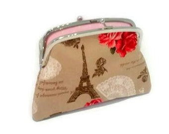 French Vintage style large fabric coin purse with 2 compartments, Eiffel tower, roses, lace, coffee brown