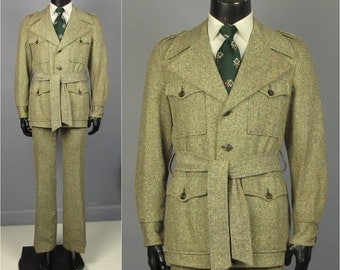 Vintage Suit -- 1970's Men's Tweedy Wool Safari Style Leisure Suit w/Belted Jacket 2 Piece Suit -- Trousers/Jacket -- Size 40 41