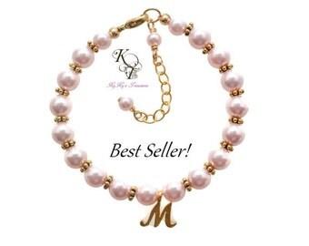 Baby Bracelet Gold, Personalized Baby Bracelet, Little Girl Bracelet, Personalized Girl Gift, Little Girl Jewelry, Keepsake Gifts