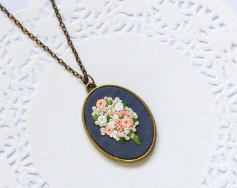 Hand Embroidered Bouquet Necklace | Vintage Pink Floral Necklace | Light Pink Statement Long Necklace | Wedding Anniversary Jewelry Gift