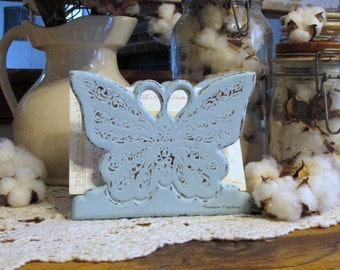Wood Napkin Holder Butterfly, Distressed Blue Kitchen Decor, Blue Butterfly Kitchen Decor, Distressed Wood Butterfly, Blue Kitchen Decor