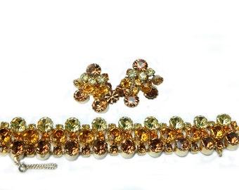 Juliana Amber Autumn Runway Demi Parure Bracelet and Earrings Opulent High Fashion Austrian Crystal Verified D & E With RARE Hidden Clasp