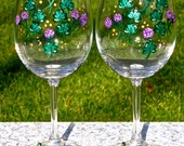 Painted Wine Glasses With Shamrocks And Crystal Wine Charms Irish Gifts