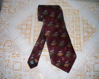 Vintage Susquehanna Trail Men's Tie  - Wide Width - Dog Show - 100% Silk