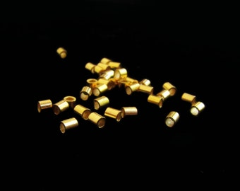 SALE Vermeil Crimp Beads 2mm Tube Spacer 20 pcs B208