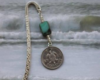 Bookmark with Silver Turtle Coin,  Genuine 1935 Fiji Sixpence, Sea turtle