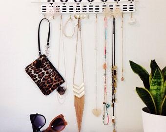 Jewelry Hanger / Necklace Earring Bracelet Storage / Black White Tribal Pattern Diamond Wall Hanging Accessory Organizer / Hooks / TradeFare