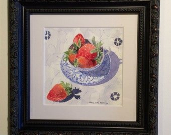 Three Strawberries original framed watercolour painting