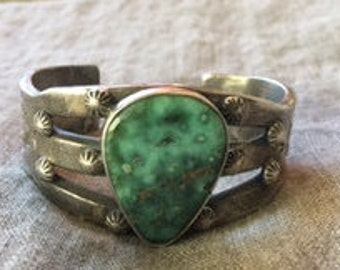 Old Style Heavy Sterling Silver Turquoise Stamped Bracelet  JF
