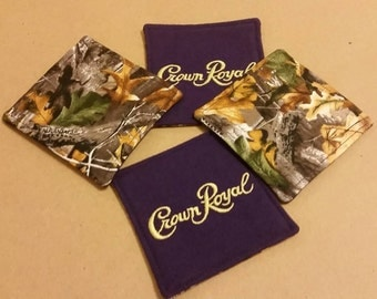 Crown Royal and Camo Reversible Coasters, Set of 4, Valentine's Day, Etsy Dudes, Man Cave, Gifts for Him, Upcycled Gifts, Groomsman Gifts