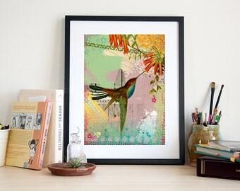 Hummingbird Art Print - Bird Poster - Wall Art - Home Decor - Painting - Bird Art