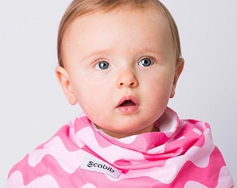 """Modern Bib (Pink Waves) All in One Scarf & Bib """"Scabib"""" TM for babies or toddlers"""