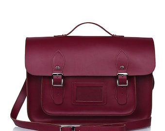 Large Wooster British Handmade Leather Satchel with Top Handle - Burgundy
