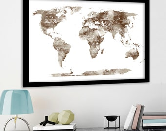 Large World Map Wall Art Poster with Personalised text or